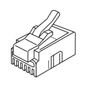 Platinum Tools 106122C Modular Plug, RJ-11 Connector, 3-Prong, Round/Solid, 25 Pack