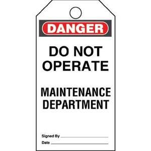Panduit PVT-44 Plastic Tag, 'Danger Do Not Operate Main