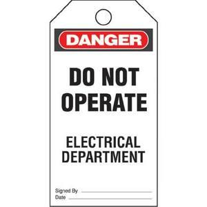 Panduit PVT-43 Plastic Tag, 'Danger Do Not Operate Elec