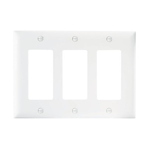 Pass & Seymour TP263-W Decora Wallplate, 3-Gang, Nylon, White