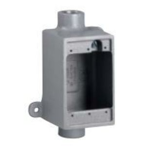 """Hubbell-Killark FS-1L FS Device Box, 1-Gang, Dead-End, Shallow, Size: 1/2"""", Aluminum, With Lugs *** Discontinued ***"""
