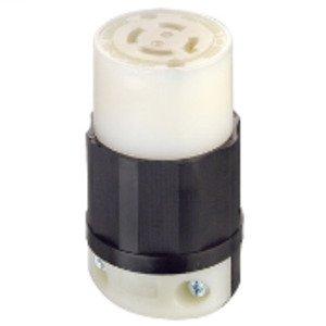 Leviton 2443 Locking Connector, 20A, 120/208V, NEMA L18-20R, Black/White