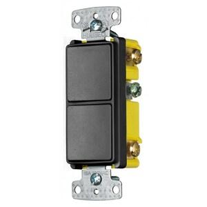 Hubbell-Wiring Kellems RCD101BK COMBO, 2) 15A SP ROCKER, BK