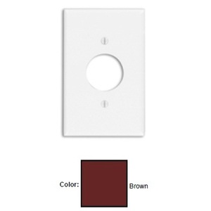 """Leviton 80504 Single Receptacle Wallplate, 1-Gang, 1.406"""" Hole, Thermoset, Brown, Midway"""