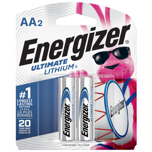 Energizer L91BP-2 Lithium Battery, AA, 1.5 Volt, 3000 mAh