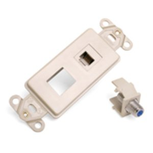 Leviton 41658-I Wallplate Insert, 2-Port, Telephone/Video, 6P6C, F-Connector, Ivory