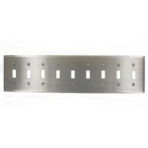 Leviton 84049-40 Toggle Device Switch Plate, 9-Gang, Stainless Steel