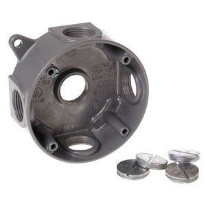 "Hubbell-Raco 5372-0 WP Round Box, 4"", Depth: 1-1/2"", AL, (5) 3/4"" Hubs"