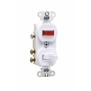 Pass & Seymour 695-W 3-Way Switch/Pilot Light Combo, 15A, White