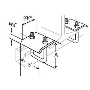 "Superstrut U502-EG Beam Clamp, Steel, Electro-Galvanized, 4-13/16"" Length"