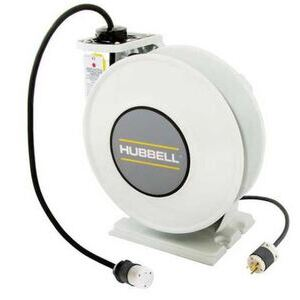 Hubbell-Wiring Kellems HBLI45123TL20 Industrial Cord Reel, 20A Twistlock, 250V, 45' Cable, White Reel