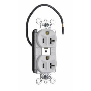 Pass & Seymour PT5362SCCHW PlugTail Load Half-Controlled Receptacle, 20A