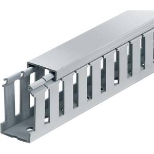 "Thomas & Betts TY15X2WPG6 Wide Slot Wire Duct, 2"" x 1-1/2"" x 6' Long, Gray"