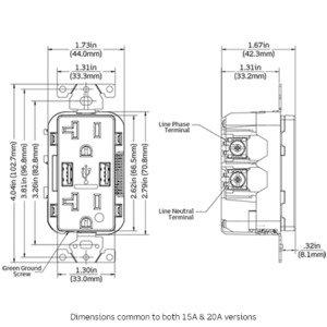 Leviton T5632-HGI USB HSP GRD TR RCPT 15A