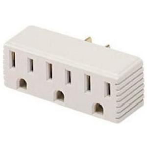 Coleman Cable 099138823 15 Amp, 125V AC, 3-Outlet Adaptor, Non-Grounded, NEMA 5-15, Beige