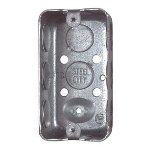 "Steel City 58371-1/2 Handy Box, 2-1/8"" Deep, 1/2"" KOs, Drawn, Steel"