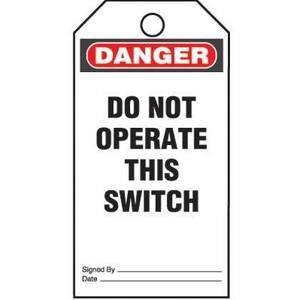 Panduit PVT-155-Q Plastic Tag, 'Danger Do Not Operate This *** Discontinued ***