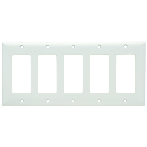 Pass & Seymour SP265-W SMOOTH WALL PLATE 5G SPLEX WHITE