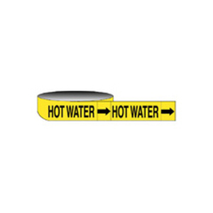 "Brady 20440 Economy HOT WATER Pipe Marker, 1"" x 8"""