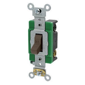 Leviton 3032-2 Double-Pole Toggle Switch, 30A, 120/277V, Brown, Specification Grade