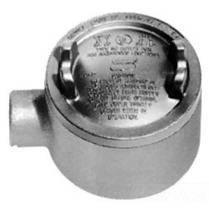 """Cooper Crouse-Hinds GUA14 Conduit Outlet Box, Type GUA, (1) 1/2"""" Hubs, Malleable"""