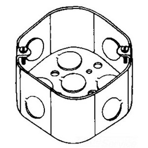 "Cooper Crouse-Hinds TP288 4"" Octagon Box, 2-1/8"" Deep, 1/2"" & 3/4"" KOs, Steel"
