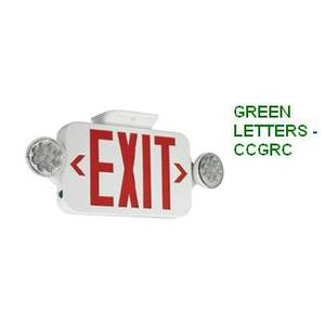 Hubbell-Dual-Lite CCGRC Emergency Combo Exit/Light, LED, Green Letters, Remote Capacity