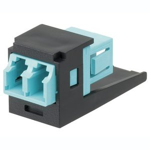 Panduit CMDJAQLCZBL Fiber Optic Adapter Module, Duplex Multimode, Aqua/Black