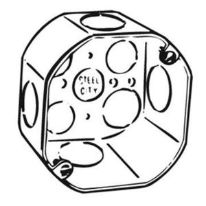 "Steel City 54171-1 4"" Octagon Box, 2-1/8"" Deep, 1"" Knockouts, Drawn, Steel"