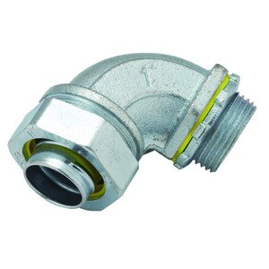 """Hubbell-Raco 3424 Liquidtight Connector, 90°, 1"""", Malleable Iron"""