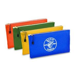 Klein 5140 Zipper Bags, Canvas Tool Pouches Olive/Orange/Blue/Yellow, 4-PK