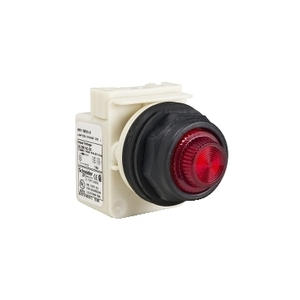 Square D 9001SKT38R9 Pilot Light, Push to Test, Red, Plastic Domed, 120VAC/DC