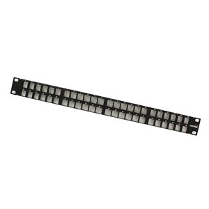 "Leviton 49255-Q48 Patch Panel, QuickPort, High-Density, 48-Port, 1RMU, 1.72"" H x 19"" W"