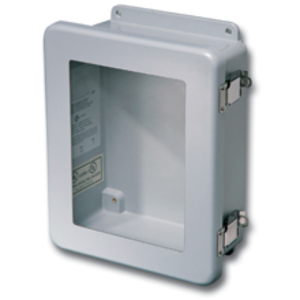 "Eaton B-Line 14126-4XFCHQRCW Enclosure, NEMA 4X, Hinged Quick Release Window Cover, 14"" x 12"" x 6"""