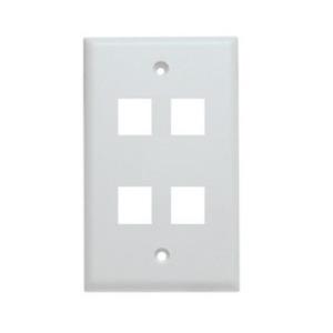 Shaxon BM303WP4 Wallplate, 4-Port, 1-Gang, Keystone, Rear Load, Flush, White