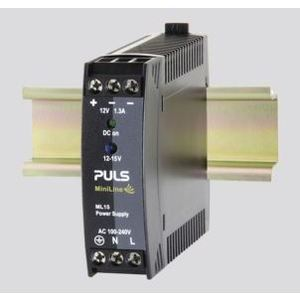 PULS ML15.121 Power Supply, 15W, 1.3A, 15VDC Output, 240VAC, 300VDC Input, IP20