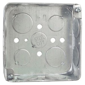 "Steel City 52151-3/4 4"" Square Box, Drawn, Metallic, 1-1/2"" Deep"