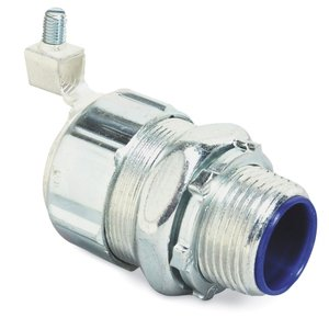 """Thomas & Betts 5337GR Liquidtight Connector, Straight, 2"""", Grounding, Malleable, Insulated"""