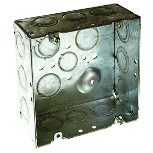 "Hubbell-Raco 257 4-11/16"" Square Box, Welded, Metallic, 2-1/8"" Deep"