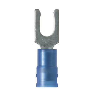 Panduit PN14-6LF-M Locking Fork Terminal, Nylon, 18 - 14 AWG, #6 Stud Size, Blue