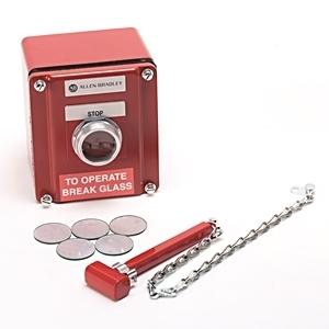Allen-Bradley 800T-NX114 Push Button, Station, Break Glass, Red, NEMA 4/13, 1NO/1NC
