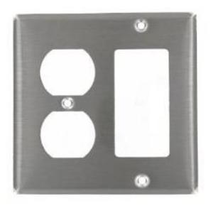 Leviton 84455-40 Comb. Wallplate, 2-Gang, Duplex/Decora, 302 Stainless Steel
