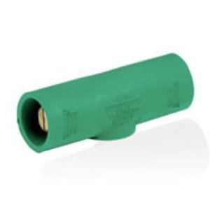 Leviton 16A25-G 16 Series, Taper Nose, Multi-Way Connector, Double Male, 400A, Green *** Discontinued ***