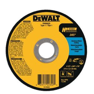 "DEWALT DW8062S C-Free Thin Cutoff Wheel, 4-1/2"" x .045 x 7/8"""