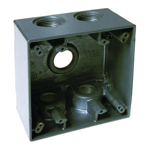 "Hubbell-Raco 5388-0 Weatherproof Outlet Box, 2-Gang, Depth: 2-5/8"", Die Cast"