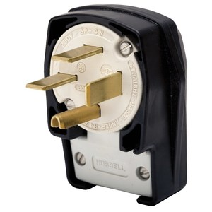 Hubbell-Kellems HBL8452C Angled Plug, 50A, 3PH 350V AC, 15-30P, 3P4W