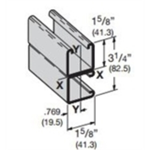 """Eaton B-Line B22DGALV10 Channel, Back to Side, Steel, Hot-Dip Galvanized, 1-5/8"""" Wide, 3-1/4"""" Deep, 10' Long"""