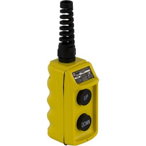 Square D 9001BW92Y Pendant Station, 1 Speed, UP/DOWN, Yellow, Strain Relief Connector