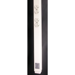 Wiremold 25DTP-412-DG Tele-Power Series Steel Power/Data Pole, 2 Outlets, 20 Amp, 12-1/2'