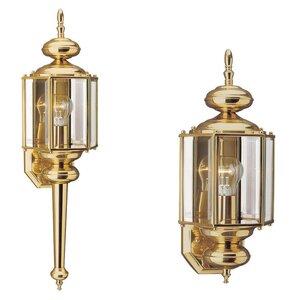 Sea Gull 8510-02 1-Light Outdoor Wall Lantern, 100W, 120V, Polished Brass Finish